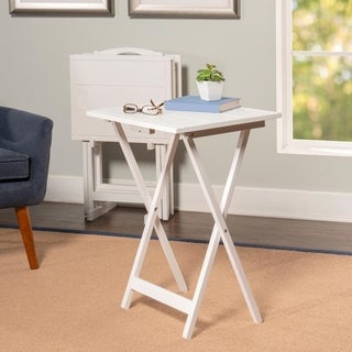 Powell Alston White Rubberwood 5-piece Tray Table Set  sc 1 st  Overstock & TV Tray Tables For Less   Overstock.com