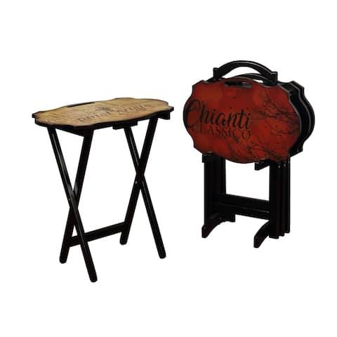 Powell Vineyard Brown/Black 5-piece Tray Table Set