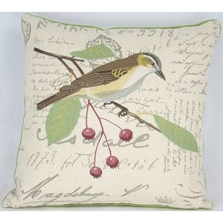 Avian Collection Feather/Down Filled Decorative Pillow Sham, Brown Bird with Berries, 18-Inch by 18-Inch