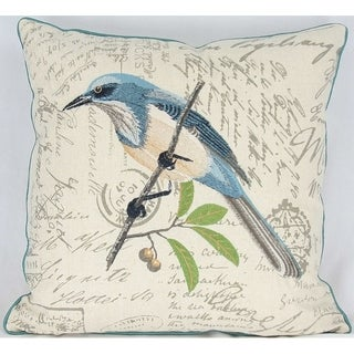 Avian Collection Feather/Down Filled Decorative Pillow Sham, Blue Bird, 18-Inch by 18-Inch