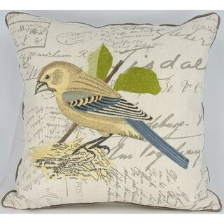 Avian Collection Feather/Down Filled Decorative Pillow Sham,Bird on Nest, 18-Inch by 18-Inch