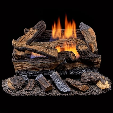 Duluth Forge Ventless Dual Fuel Gas Log Set - 18 in. Split Red Oak - Remote Control