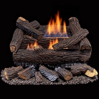 Duluth Forge Ventless Dual Fuel Gas Log Set - 18 in. Stacked Red Oak - Remote Control