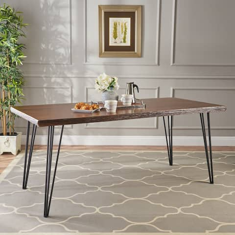 Chana Industrial Faux Live Edge Dining Table by Christopher Knight Home - natural + black