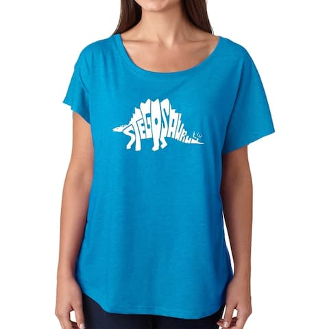 Los Angeles Pop Art Dolman Word Art Shirt - STEGOSAURUS