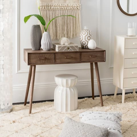 """Safavieh Albus Chocolate Brown 3-drawer Console Table - 41.8"""" x 14.3"""" x 32"""""""