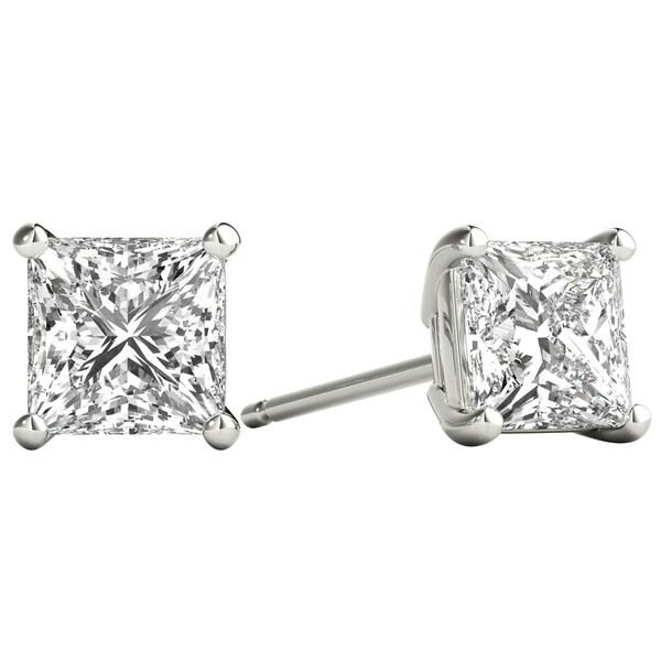 41be8e529 Seraphina 18k Gold 1ct TDW Princess Cut Diamond Solitaire Stud Earrings