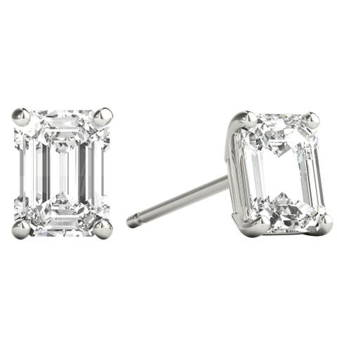 Seraphina 14k Gold 1ct TDW Emerald Cut Diamond Solitaire Stud Earrings