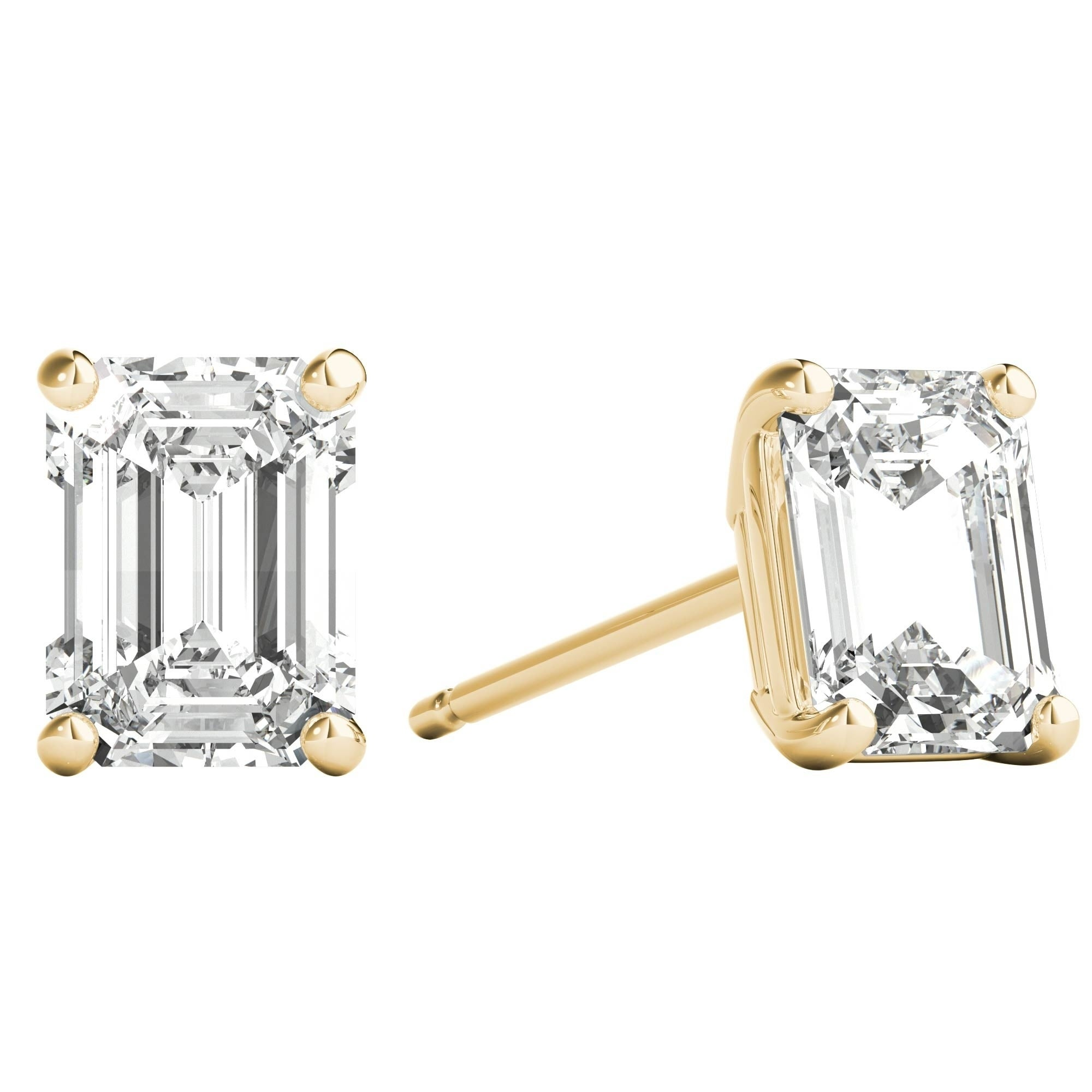 ecb1c6afd Shop Seraphina 14k Gold 1ct TDW Emerald Cut Diamond Solitaire Stud Earrings  - Free Shipping Today - Overstock - 21220468