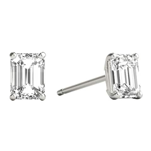 Seraphina 18k Gold 0.60ct TDW Emerald Cut Diamond Solitaire Stud Earrings
