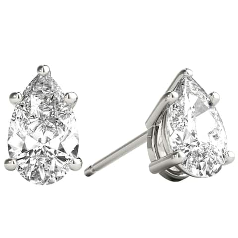 Seraphina 14k Gold 1ct TDW Pear Cut Diamond Solitaire Stud Earrings