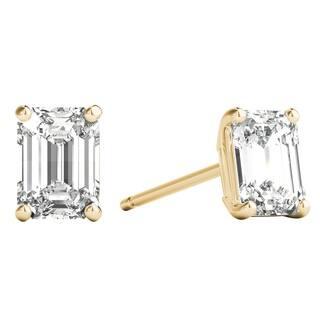 8fc77b512 Seraphina 14k Gold 0.80ct TDW Emerald Cut Diamond Solitaire Stud Earrings