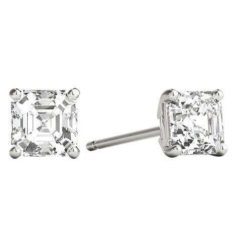 Seraphina 14k Gold 0.60ct TDW Asscher Cut Diamond Solitaire Stud Earrings