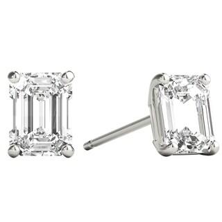 Seraphina 18k Gold 1ct TDW Emerald Cut Diamond Solitaire Stud Earrings