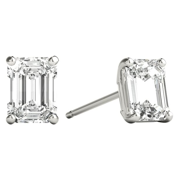 6748eb027 Seraphina 18k Gold 1ct TDW Emerald Cut Diamond Solitaire Stud Earrings