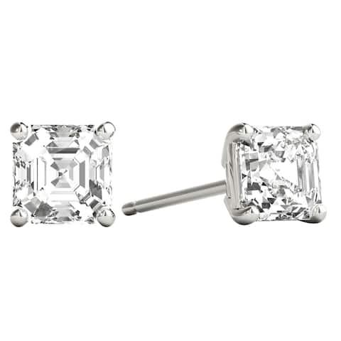 Seraphina 18k Gold 0.80ct TDW Asscher Cut Diamond Solitaire Stud Earrings