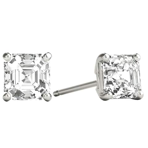 Seraphina 18k Gold 1ct TDW Asscher Cut Diamond Solitaire Stud Earrings