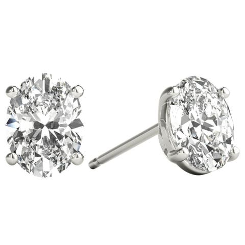 Seraphina 18k Gold 1ct TDW Oval Cut Diamond Solitaire Stud Earrings