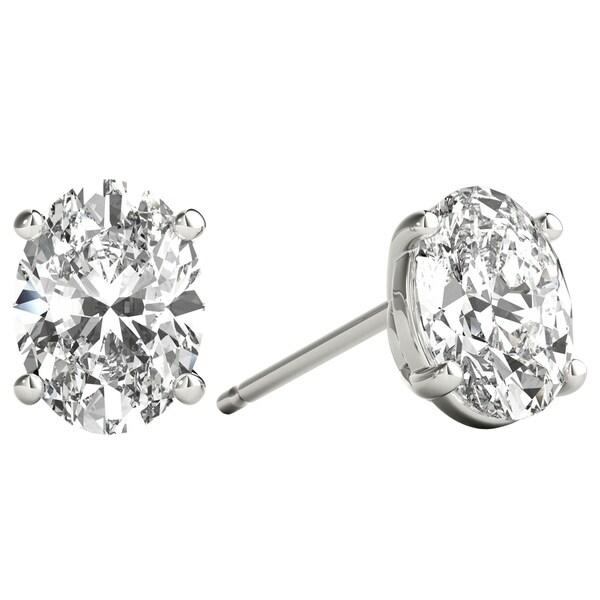 9f2ddc21b Seraphina 18k Gold 1ct TDW Oval Cut Diamond Solitaire Stud Earrings