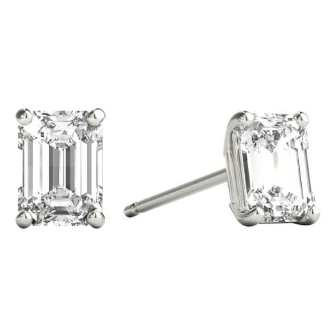 Seraphina 18k Gold 0.80ct TDW Emerald Cut Diamond Solitaire Stud Earrings