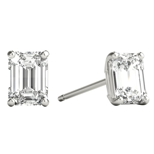 436a0fe83 Seraphina 18k Gold 0.80ct TDW Emerald Cut Diamond Solitaire Stud Earrings