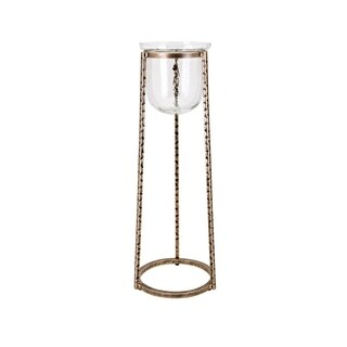Murray Antiqued Gold and Clear Glass Small Floor Hurricane