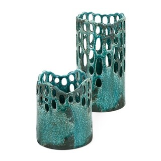 Alyssa Distressed Teal Green Ceramic Cutwork Hurricanes (Set of 2)
