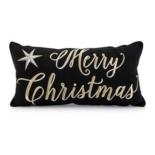 Merry Christmas Black Pillow