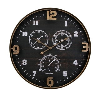 Clark Black and Brass Toned Iron Wall Clock