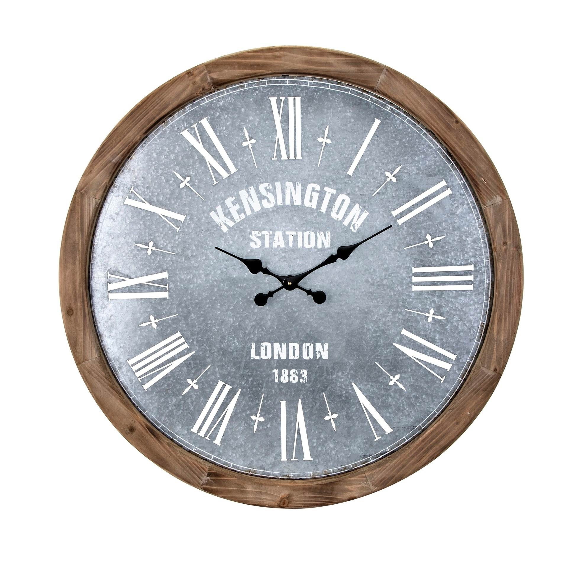 Wall Clock Classic Oversized Quartz Outdoor Distressed Cream Dial Brown 24-inch