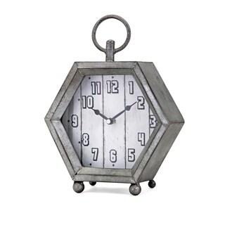 Hawkins Grey Galvanized Table Clock