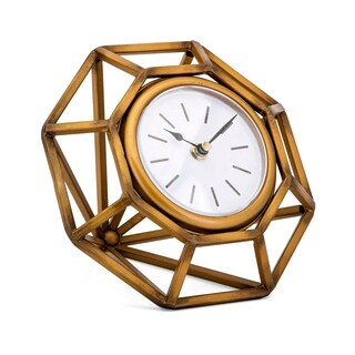 Vagn Antiqued Gold Diamond Table Clock