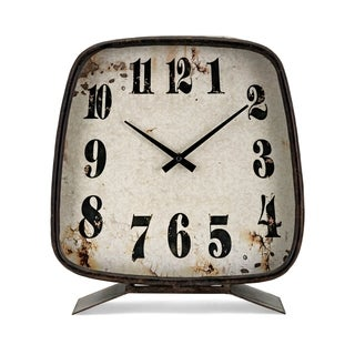 Albert Rustic Iron with Weathered Metal Table Clock
