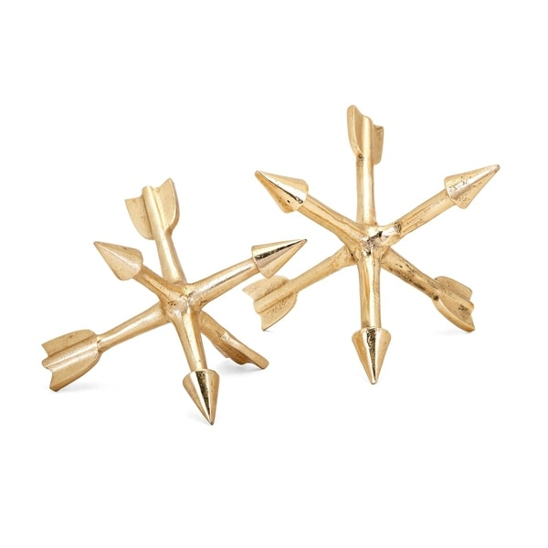 Adela Gold Metallic Arrow Orbs (Set of 2)