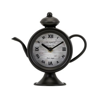 Teapot Black Desk Clock