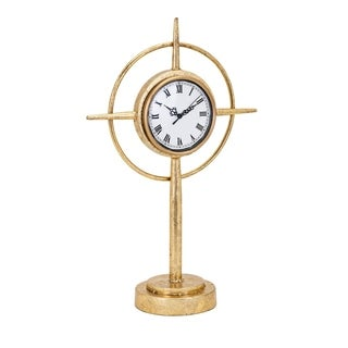Compass Antiqued Gold Standing Table Clock
