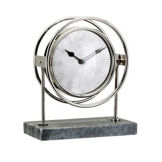 Beth Kushnick Metallic Silver Rings Table Clock