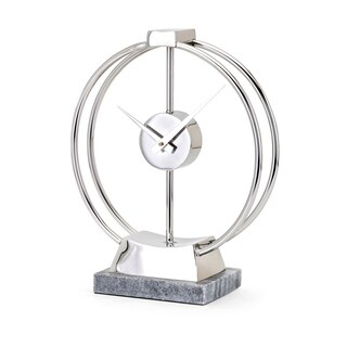 Beth Kushnick Metallic Silver Open Face Table Clock