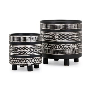Ayrton Satin Black Glaze Ceramic Planters (Set of 2)
