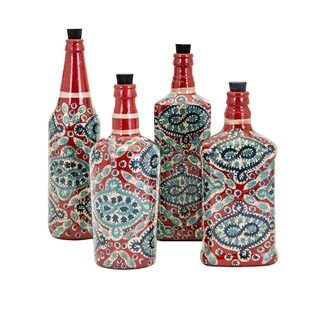 Alona Multi-Color Hand Painted Glass Bottles (Set of 4)