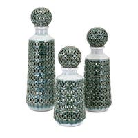Vivian Green Bottles with Stoppers (Set of 3)