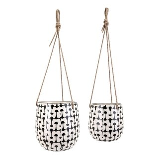 Watford Black and White Hanging Planters (Set of 2)