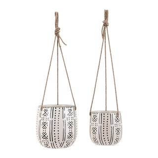 Relli Black and White Hanging Planters (Set of 2)