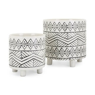 Ratlif Black and White Planters (Set of 2)