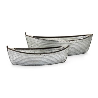 Boat Rustic Silver Iron Planters (Set of 2)