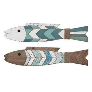 Rutliff Multi-Color Wood Fishs (Set of 2)