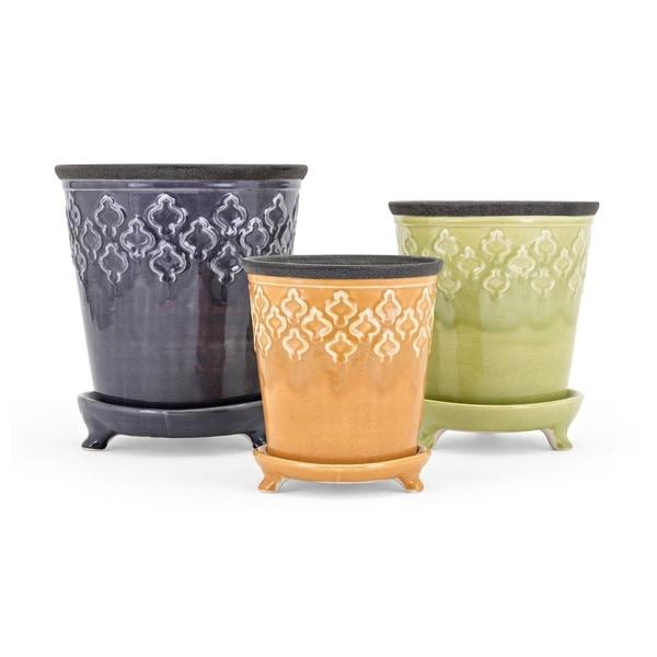 Emma Multi-color Ceramic Flower Pots (Set of 3)