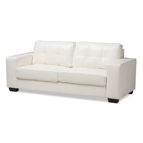 Shop Contemporary White Faux Leather Sofa by Baxton Studio ...