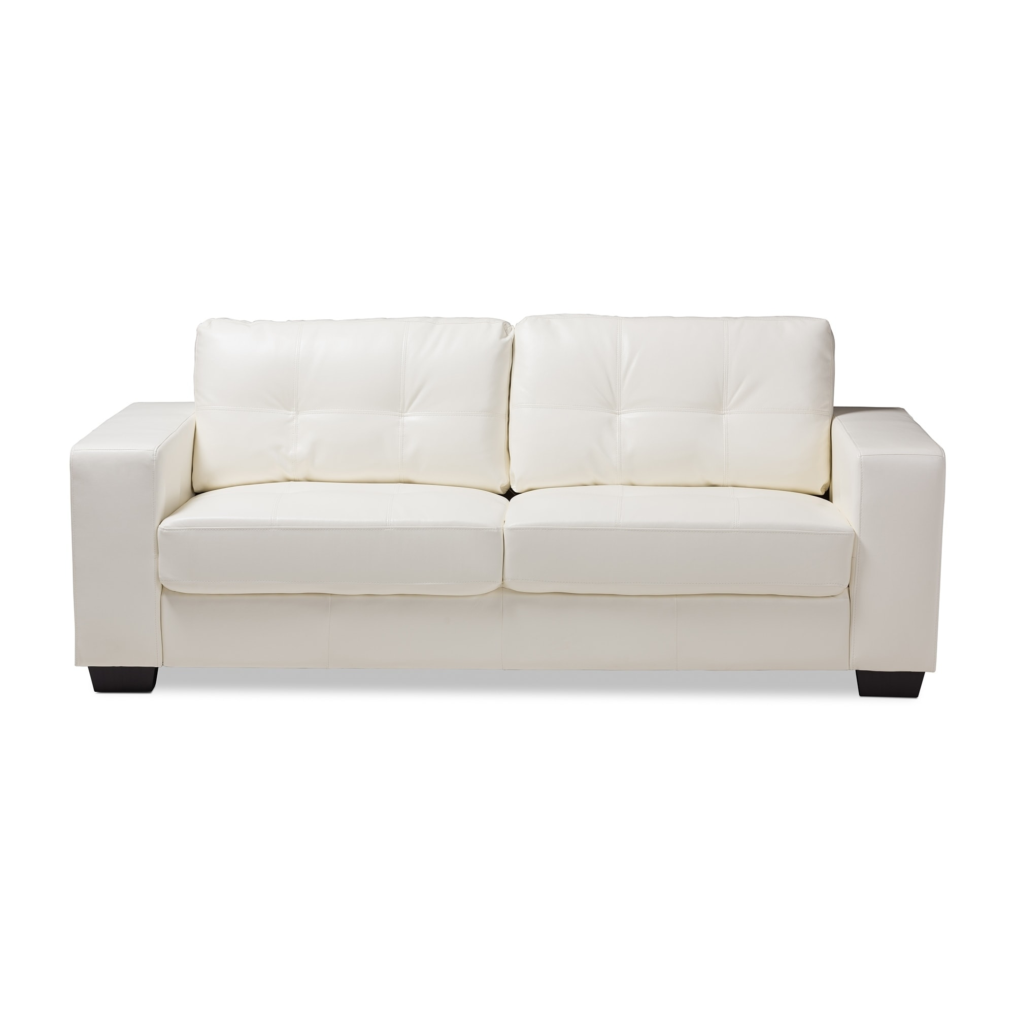 Contemporary White Faux Leather Sofa By Baxton Studio Free Shipping Today 21220825