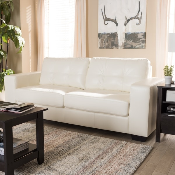 Contemporary White Faux Leather Sofa By Baxton Studio